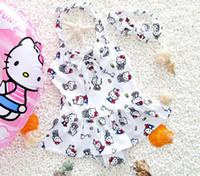traje de cabresto venda por atacado-Crianças princesa 1 peça halter swimsuit bonito kitty cat impressão bebê meninas swimwear biquíni crianças praia roupas de natação trajes
