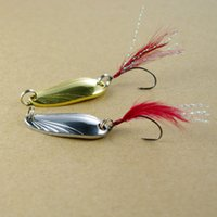 Pesca Single Hook Spoon Lure Feather Spinner Bait Venda Shell Jigbait Lures Com Pena Jig Polish Steel