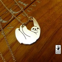 Wholesale Necklace Handmade Circle - 1pcs Handmade Cartoon Sloth Necklace Animal Pendant Collares Mujer Plated Gold Silver Animal Chain Jewellery Accessories For Gift