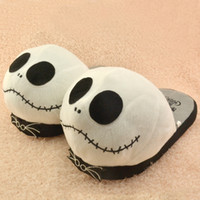 Wholesale Christmas Novelty Fabric - The Nightmare Before Christmas Pumpkin King skeleton Jack Jack cartoon plush slippers and indoor shoes 20161024
