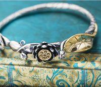 Wholesale Lotus America - Wholesal Retro stylish South America Element Top Grade Bracelets for Ladies Party Wedding Bracelet with lotus engraved adjustable jewelry