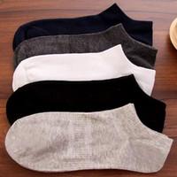 meias de tamanho único venda por atacado-Homens Meias De Algodão Barco Loafer Não-Deslizamento Invisível Low Cut No Show Meias (Um Tamanho, Ajuste Homens Pés 6-10)