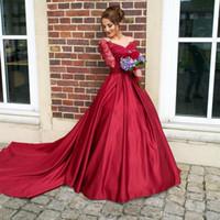 kapalı akşam elbiseleri toptan satış-Koyu Kırmızı Uzun Kollu Abiye giyim Sheer Boyun Çizgisi Dantel Üst uzun Balo Elbise Uzun Geri Kapalı Düğme Resmi Kokteyl Elbise Törenlerinde