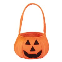 Wholesale Biscuits Decoration - Halloween Smile Pumpkin Bag Props Decoration Kids Biscuit Candy Handheld Bags Pouch Children Fancy Gift Festival Supplies