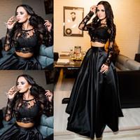 siyah açık arka balo elbiseleri toptan satış-2018 Ucuz Siyah İki Adet Gelinlik Modelleri Jewel Boyun Illusion Uzun Kollu Dantel Aplikler Aç Geri Artı Boyutu Parti Elbise Abiye giyim