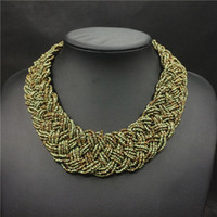 Wholesale XZ298 New Colors Handwoven Bead Choker Women Necklace Vintage Statement Necklace for Women Choker Necklace jewelry