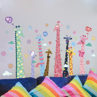 Wholesale Giraffe Growth Chart - Extra Large Colorful Giraffe Wall Decals Sticker Kids Room Nursery Wall Art Mural Poster Cartoon Animals Wall Applique Graphic
