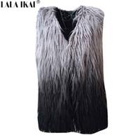 Wholesale Womens Coats Sheep Fur - Gradient Color Women Faux Fur Vest and Coat Plus Size Womens Winter Fur Jackets and Coats Sheep Fur Long Vest Women NBA220-5