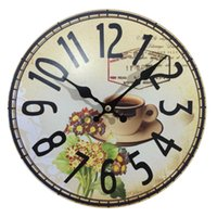 Wholesale Mdf Decorations - Wholesale- Dinning Room Cheap Wall Clocks Electronic Antiqued Quartz MDF Wooden Clock 10'inch Home Decoration Big Wall Clock