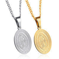 Wholesale religion pendants resale online - Elliptical Zircon Our Lady of Guadalupe Pendant Stainless Steel Religion Faith Jewelry Blessed Virgin Mary Pendants Necklaces Gift for Lover