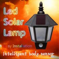 Wholesale Headlight Sensor - Top grade LED solar street lights hexagonal body sensors and a half wall lamp wall lamp aisle lights garage door headlight lamp