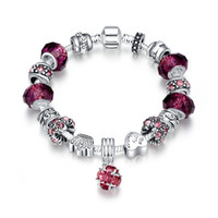 Wholesale Purple Agate Pendant Bead - Brand New Cason Elegant 925 Silver Plated Fashion Women Pendant Charm Bracelets With Purple Zircon Murano Beads DIY Jewelry Drop Shipping