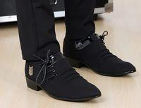 damat için siyah ayakkabı toptan satış-En iyi satmak Kore siyah dantel-up tokaları cusp ayakkabı elbise ayakkabı erkek rahat ayakkabılar damat düğün ayakkabı