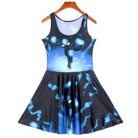 Wholesale Sailor Moon Free Sexy - NEW 1254 Sexy Girl Women Summer cartoon Sailor moon energy Black Cat Luna 3D Prints Reversible Sleeveless Skater Pleated Dress