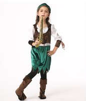 Wholesale Velvet Dress Boys - Girls pirate cosplay velvet outfits 3pc sets hat+dress+Bottomless boots kids holloween Xmas partey cosplay costume dress performance cloth