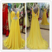 Wholesale Sample Long Sleeve Evening Dresses - 2016 Evening Dresses Yellow Long Prom Dresses Formal 100% Sample V Neck Backless Sweep Train Crystal Junoesque Chiffon Evening Gown