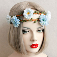 Рождественский головной убор Flower Crown Tiara Floral Hippie Headband Cosplay Hair Garland Cosplay Blue Purple Аксессуары для волос Свадебная повязка