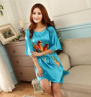 Wholesale house robes - Wholesale-Silk night gown Chinese drawing clothes silk sleeping wear sexy house wear satin robe