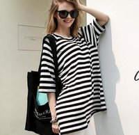 Wholesale Striped Dolman Tee - Brand New Womens Casual Loose Striped short sleeve T Shirt Tee Tops Plus size fashion summer clothing apparel