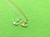 Wholesale Sideways Anchor Charm - 5PCS Gold Silver Tiny Boat Anchor Necklace Sideways Mens Navy Nautical Anchor Necklaces Boat Hooks Necklace for Women