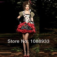 Wholesale Heart Costumes Adults - Sexy Queen Of Hearts Costumes Women Adult Alice In Wonderland Party Cosplay Fantasias Red Dress Fantasy Wholesale