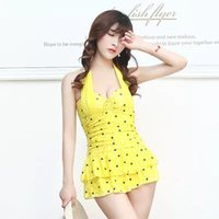 Wholesale Belly Cover - Sexy skirt style swimsuit Wenquan Ping corner piece pants thin cover belly hanging neck halter swimsuit