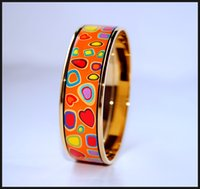 Wholesale Colorful Enamel Bangles For Women - Colorful Stones Series 18K gold-plated enamel bangle bracelet for woman Top quality bracelets bangles width 20mm Fashion jewelry