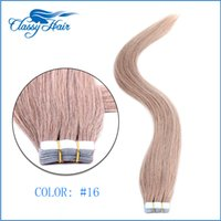 Wholesale Ash Blonde Human Hair Extensions - Ash Blonde Straight Adhesive Skin Wefts Tape In Human Hair Extensions PU Tape Hair 20pcs set 16 18 20 22 24 inches Large Stock