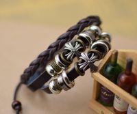Wholesale Tribal Beads Wholesale - new products 12pcs lot Handmade jewelry metal cross charm bracelets beads gift Men's Leather Bracelet braided Tribal Adjustable Size