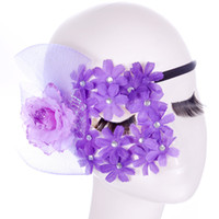 Wholesale Sexy Head Jewelry - Wholesale-Retro elegant and sexy purple lace mask jewelry fashion fun head mask cutout kitsune eye mask for Masquerade fancy dress costume