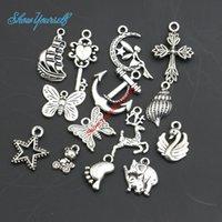 engel diy großhandel-Mixed Antique Silver Überzogene Kreuz Anker Schmetterling Angel Star Charms Anhänger für Halskette Schmuck Handgemachte Fertigkeit DIY