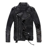 Wholesale jean jacket beads - 2017 Fashion Men Denim Jackets Coat Casual Mens Jean Jacket Dark gray blue Solid Male Outwear Brand Clothing