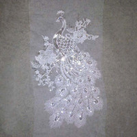 Wholesale Chinese Daily Wear - 29*50cm big white silver peacock paillette embroidery patch applique on white gauze fabric for performance and daily wear DIY