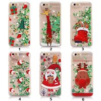 Wholesale Case Iphone Santa Claus - 2017 Quicksand Star Christmas tree Santa Claus Clear Flowing Liquid Glitter Phone Cases for iPhone 5 5s 6 6s Plus 7 7plus DHL