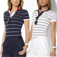 Wholesale Cotton Womens Shirts Classic - Women Stripe Polo Shirt Femme Breathable Classic Cotton Polo Feminina 2016 Summer Style Woman Wonder womens-polo-shirts-cotton