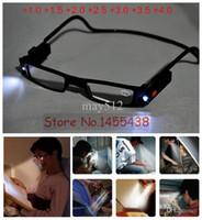 Wholesale Reading Glasses Strengths - 1PC Unisex Adjustable LED Magnetic Reading Glasses Front Connect Magnet LED Reader Folded Glasses With Lights +1.0 +4.0D