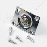 Wholesale guitar socket for sale - Group buy Hot Sell Chrome Rectangle Output Guitar Jack Plate Socket