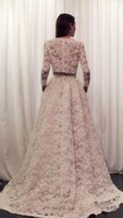 Wholesale Cheap Nude Formal Dresses - New Arrival Two Pieces Arabic Evening Dresses 2016 Long Sleeves Cheap Lace Women Formal Occasion Wear Jewel Sweep Train Prom Party Gowns