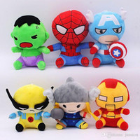 Wholesale Cute Spiderman Gifts - Avengers Spiderman Iron Man Captain America Dolls Toys Doll PP Cotton Plush Stuff Dolls 2016 New Stuffed Toys Cute Baby 18cm Christmas Gifts