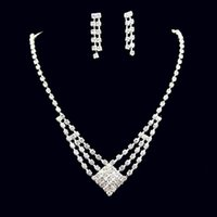 Wholesale Tennis Earrings Necklace - Cheap Jewelry Sets Rhinestone Necklace and Earrings Set Rhinestone Bling Jewelry Accessories for Prom Party Wear PJ001