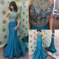 Wholesale Tank Top Evening Dresses - HarveyBridal Luxury Hand Beading Crystal 2 Piece Prom Dresses Long Real Picture Blue Tank Top Mermaid Formal Evening Gowns Vestidos de noche
