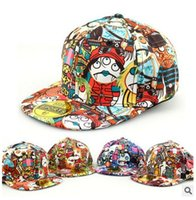 Wholesale Hiphop Hat Korean - Korean kids baseball fited hats 2016 New Graffiti hiphop Caps Cool Children Hat Family Matching hat Adult Sport Hats XW106