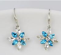 ohrring modelle für frauen groihandel-Blau Österreich Kristall Ohrringe Anhänger Schnee Prinzessin Temperament Mode Weibliche Modelle Österreichischen Kristall Ohrringe Für Frauen Weihnachtsgeschenk