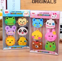 Wholesale Stationery Gift Boxes - Wholesale-F22 1 Box 6pcs Kawaii Rubber Erasers Zoo Kid Gift School Supplies Student Stationery Correction