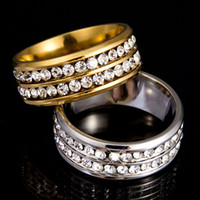 Wholesale Double Womens Ring - Wholesale-Womens Mens Fashion Double Rows Rhinestones Titanium Steel Wedding Jewelry Ring 5D3Q