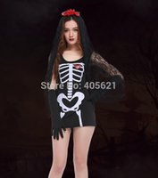 Costume cosplay 10set / lotto adulti femminile Donne Fantasma Phantom Bride Vampire Skull Witch Dress Halloween Horror Roleplay trucco