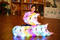 Wholesale Led Glow Pillow - 38cm Creative Light Up LED Crescent Stuffed Plush Toy Colorful Glowing Crescent Moon Pillow Christmas Gift for Kids