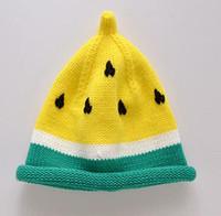 Wholesale Watermelon Hat Girls - 2018 winter hats crochet Children's hat Set head cap Watermelon cap keep warm Knitted cap 98