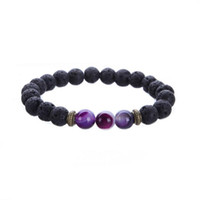 Venda quente New Natural Lava Rock Stone Yoga Pulseira Chakra Beads Pulseiras Elastic Energy Charm Jewelry