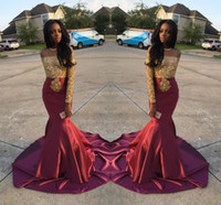 Wholesale Satin Lace Girls Dresses - Charming African Style Off Shoulder Prom Dresses 2016 Gold And Burgundy Evening Gowns For Black Girls Long Sleeve Sweep Train Formal Dresses